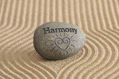 Zen garden in harmony. Zen garden with sand and stone in harmony Royalty Free Stock Photography