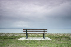 Zen garden II. A bench  in a lost city , a lost moment by the sea Stock Images