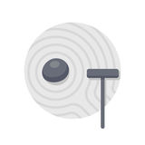Zen garden illustration. Minimal Japanese rock garden icon. Stone and rake on sand, simple Zen garden vector illustration Stock Images