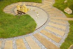 Zen Garden. Japanese Zen Garden Dry Landscape With Spiral Royalty Free Stock Photos
