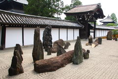 Zen garden in Kyoto. Famous zen rock garden in Tofuku-ji temple in Kyoto, Japan Royalty Free Stock Photos
