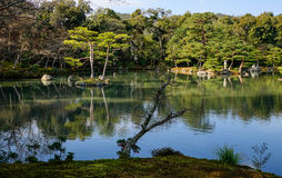 Zen garden with the lake in Kyoto, Japan Stock Photography