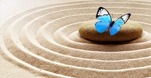 Free Zen Garden Meditation Stone Background And Butterfly With Stones And Lines In Sand For Relaxation Balance And Harmony Spirituality Stock Photos - 163450453