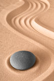 Zen garden meditation. Stone background with copy space stones and lines in sand for relaxation balance and harmony spirituality or spa wellness Japanese Royalty Free Stock Photos