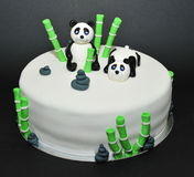 Zen garden, panda bears fondant cake Royalty Free Stock Photos