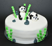 Zen garden, panda bears fondant cake Royalty Free Stock Photo