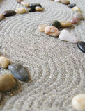 Zen garden path. With curves and stones stock photography