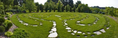 Zen Garden Pathway Panorama. A stone pathway in a zen garden Stock Photo
