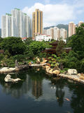 Zen garden pool park in the city Royalty Free Stock Photography
