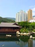 Zen garden pool park in the city Royalty Free Stock Photos