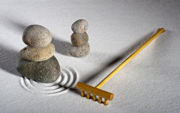 Zen Garden with Rake Stock Photography