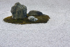 Zen garden raked gravel circle and rock feature. Royalty Free Stock Images