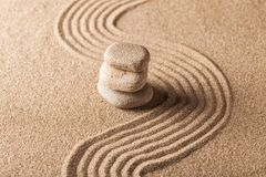 Zen Garden with Raked Sand and Balancing Pebbles. Stones rocks sand balance garden zen garden japanese royalty free stock photography