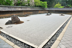 Zen garden, raked the stones of the Ryoanji Temple garden Stock Photography