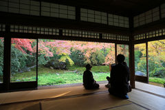 Zen garden at Rurikoin, all viewed through a window. Stock Photos