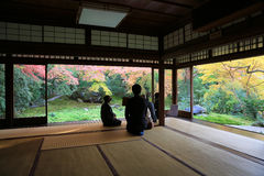 Zen garden at Rurikoin, all viewed through a window. Stock Photography