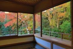 Zen garden at Rurikoin, all viewed through a window. Royalty Free Stock Photos