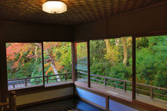 Zen garden at Rurikoin, all viewed through a window. Royalty Free Stock Images