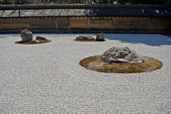 Zen garden at Ryoan Temple, Kyoto, Japan Royalty Free Stock Photos