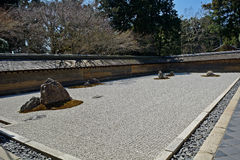 Zen garden at Ryoan Temple, Kyoto, Japan Royalty Free Stock Images