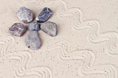 Zen garden with sand stones Royalty Free Stock Image