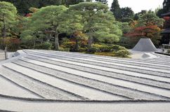 Zen garden with sand tower Royalty Free Stock Photography