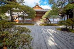 Zen garden sand tower named Kogetsudai Stock Image