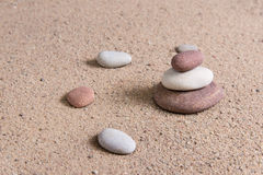 Zen garden sand waves and rock sculptures Stock Photography