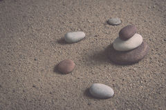 Zen garden sand waves and rock sculptures. Vintage. Royalty Free Stock Photos