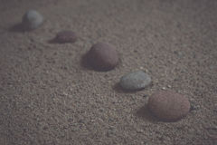 Zen garden sand waves and rock sculptures. Vintage. Royalty Free Stock Photography