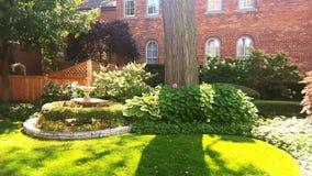Zen Garden Skokie. A calming courtyard hidden within Skokie, Illinois. Taken with a samsung galaxy s6 Royalty Free Stock Images