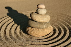 Zen garden stone and sand Royalty Free Stock Photos