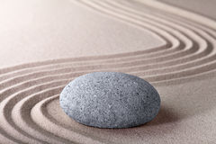 Zen garden stone and sand pattern tranquil relax Stock Image