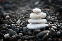 Zen garden with stone stack Royalty Free Stock Photography