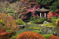 Zen Garden Style al tempio in autunno, Kyoto, Giappone di Bishamondo fotografie stock