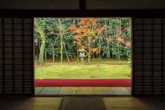 Zen Garden Style with red Carpet in Colourful Autumn Momiji at Daitokuji Temple, Kyoto royalty free stock images