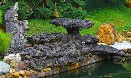 Zen garden with taihu rocks Royalty Free Stock Photo