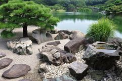 Zen. Garden of the Tea ceremony building, Ritsurin Park, Takamatsu, Japan Stock Photography