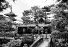 Zen garden and temples in the spring park, Japan spring season, Spring park in Kyoto, Japan. Royalty Free Stock Photo
