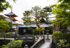 Zen garden and temples in the spring park, Japan spring season, Spring park in Kyoto, Japan, Spring season concept. Royalty Free Stock Photography