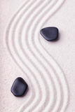 Zen garden with a wave lines in the sand with relaxing black sto Stock Photography