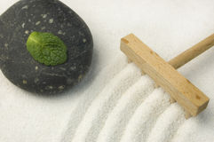 Zen Garden With Green Leaf Royalty Free Stock Images