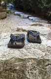 Zen Garden With Japanese Slippers Royalty Free Stock Photography