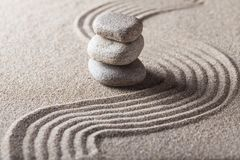 Free Zen Garden With Raked Sand And Balancing Pebbles Royalty Free Stock Photos - 113577428