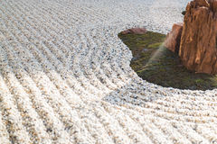 Zen gardens typically contain gravel and bare stones Stock Photos