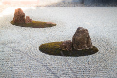 Zen gardens typically contain gravel and bare stones Royalty Free Stock Photography