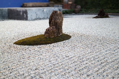Zen gardens typically contain gravel and bare stones Royalty Free Stock Photo