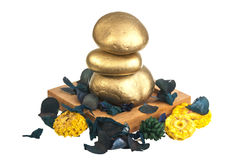 Zen gold stones Royalty Free Stock Photo