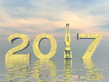 Zen happy new year 2017 - 3D render Stock Image