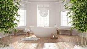 Zen interior with potted bamboo plant, natural interior design concept, classic spa bathroom with bathtub, minimalist scandinavian. Architecture vector illustration